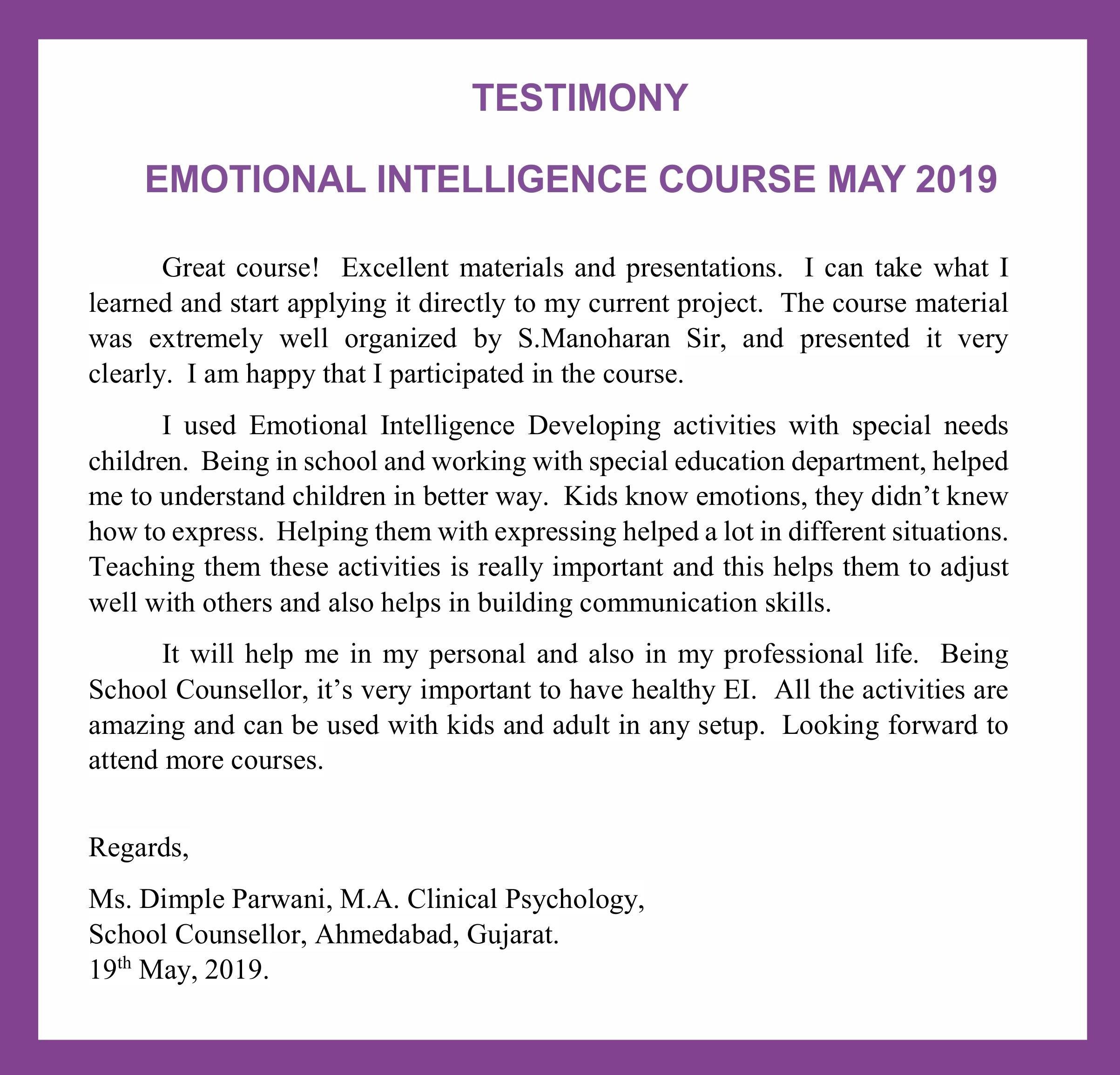 EI Testimony Dimple Parwani May 2019 – Indian Association of