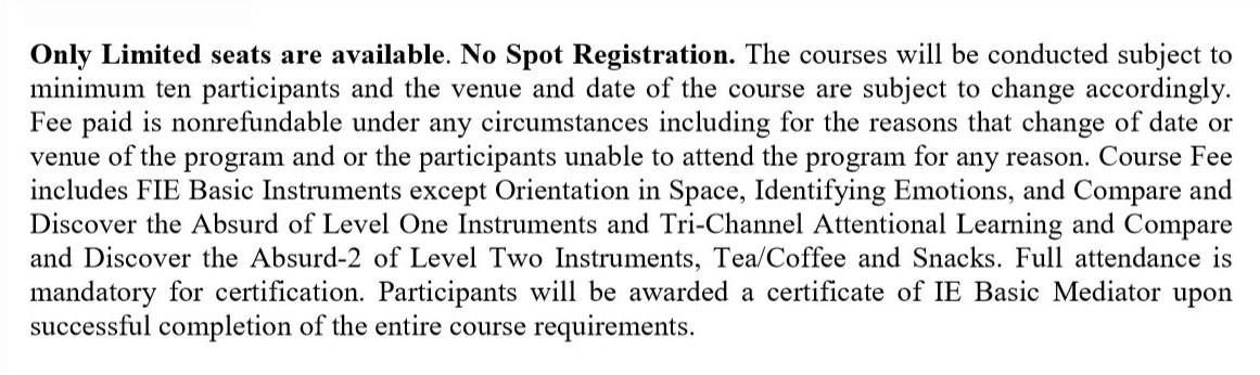 I accept the course registration details