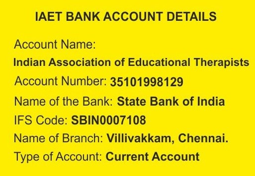 IAET Bank Account Details for IMPS Transfer.