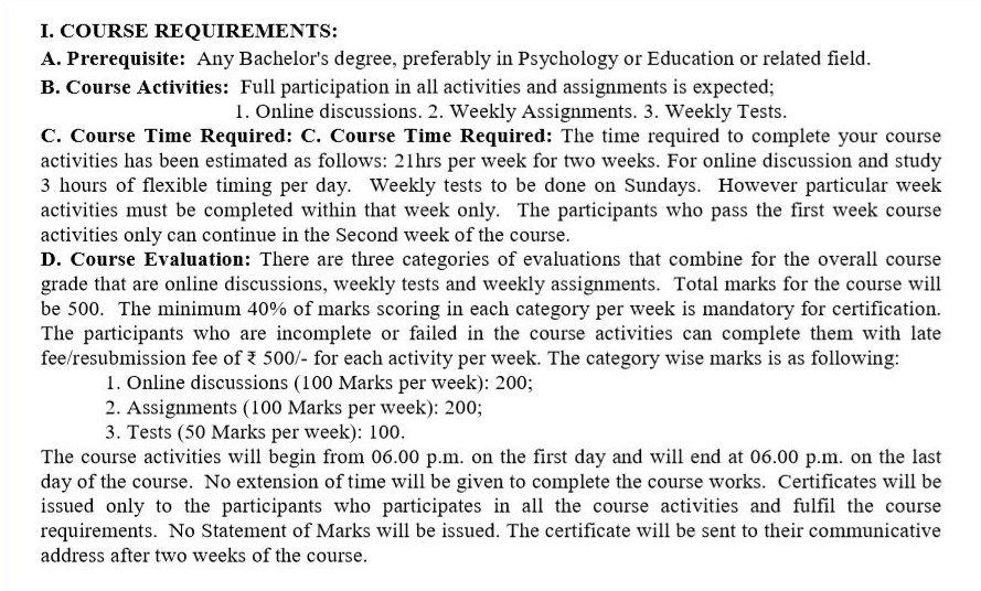 I accept the course requirements.