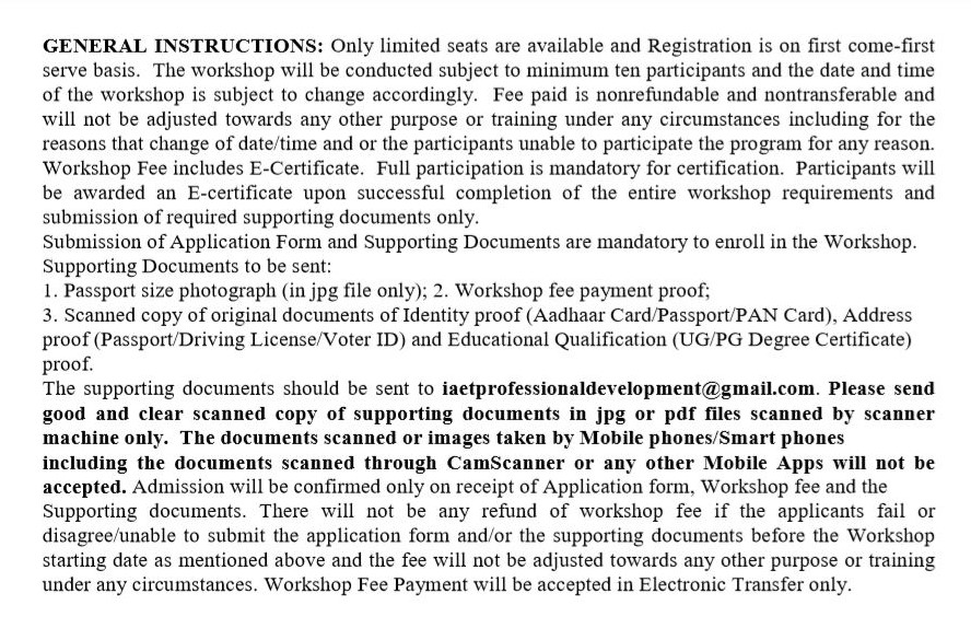 I accept the above mentioned workshop General Instructions and Registration Conditions